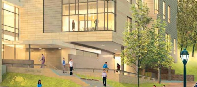 Artist rendering of campus building renovation